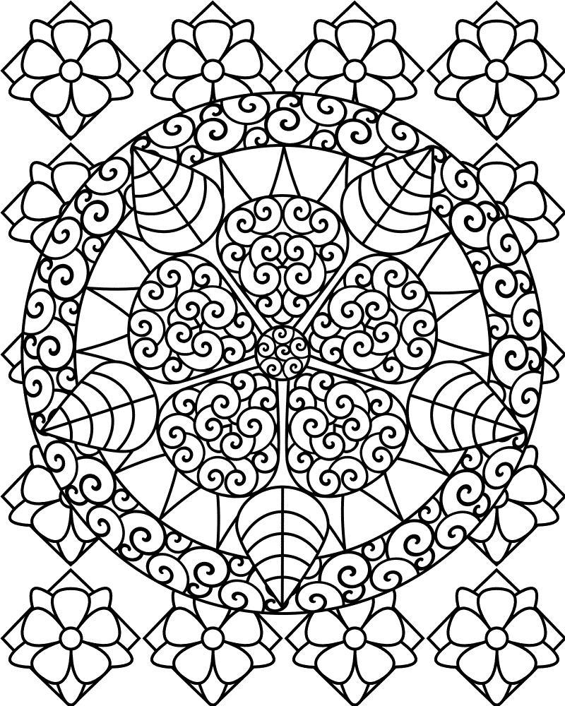 Красивый цветок в круге на фоне других цветов Раскраски антистресс бесплатно