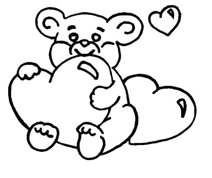 Мишка с сердечками Раскраски антистресс бесплатно
