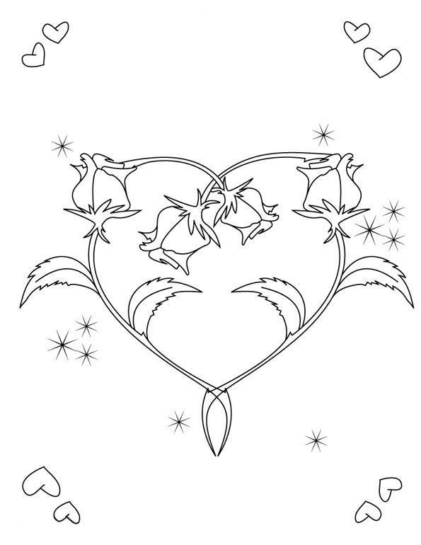 Розы в виде сердца Медитативная раскраска