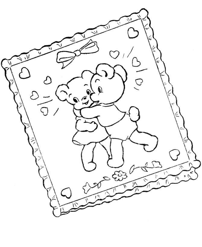 Мишки с сердечками на открытке с ленточкой Раскраски антистресс бесплатно