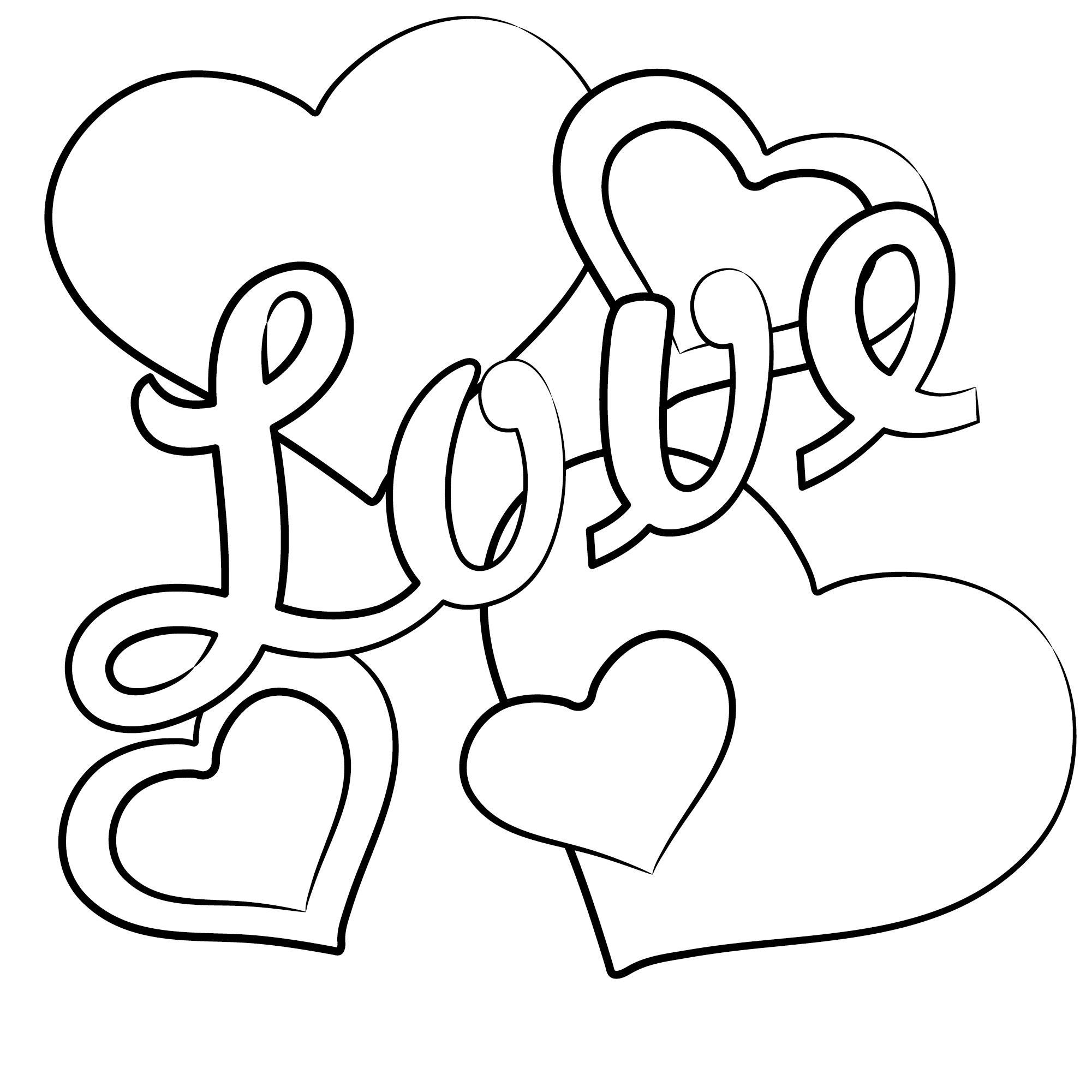 Надпись love с сердечками Антистрессовые раскраски