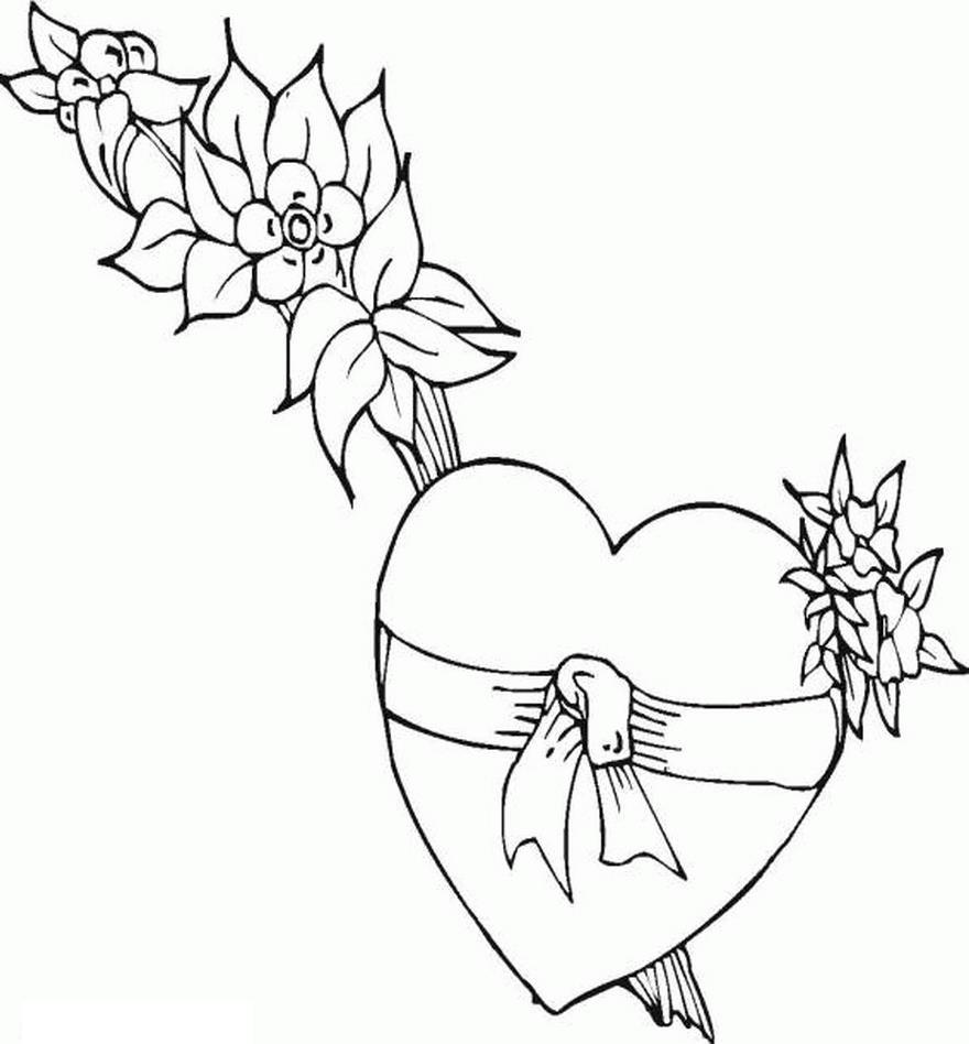 Сердце с цветами Раскраски антистресс бесплатно