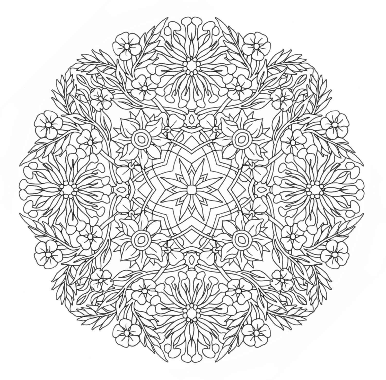 Узоры в круге из цветов Раскраски для взрослых скачать
