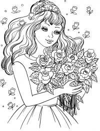 Красивая принцесса с букетом цветов Раскраски для снятия стресса