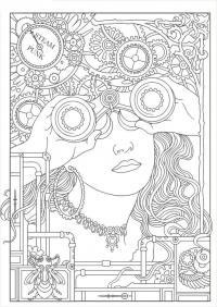 Механическая девушка Раскраски антистресс распечатать