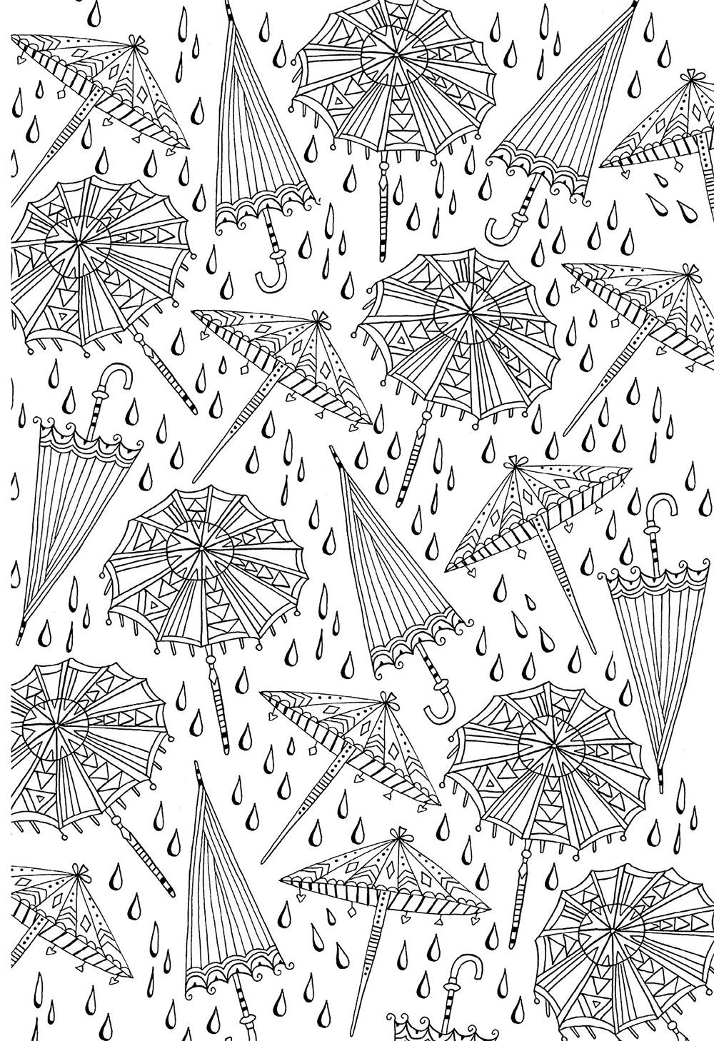 Осенний мотив зонты и дождь Раскраски антистресс распечатать