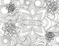 Пять цветков на фоне концентрических кругов Раскраски антистресс фото