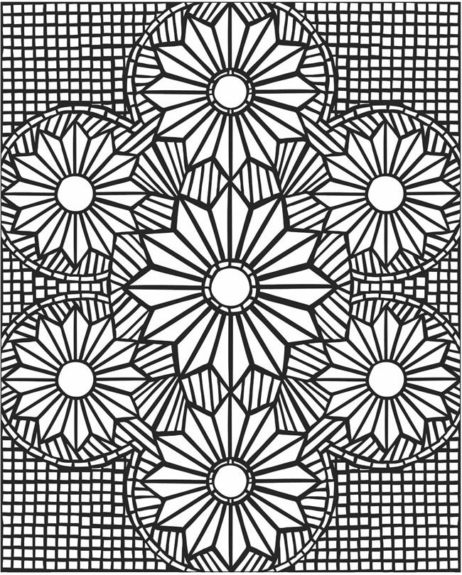 Шесть цветков и клеточки Раскраски антистресс фото
