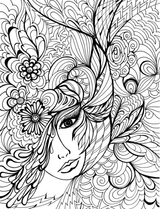 Девушка в узорах из цветов Раскраски для взрослых скачать