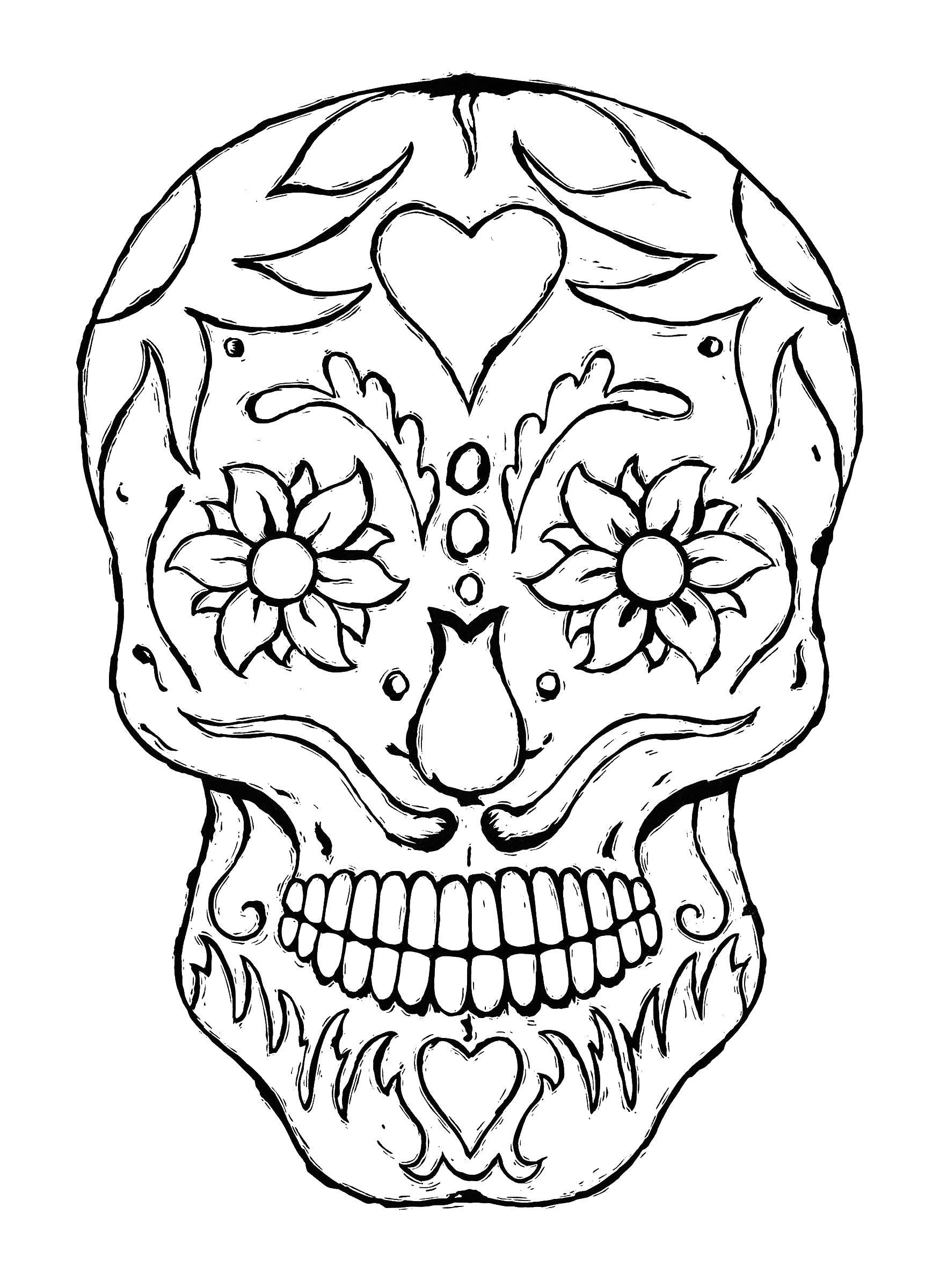 Череп сердце и цветы в глазах череп Раскраски антистресс ...