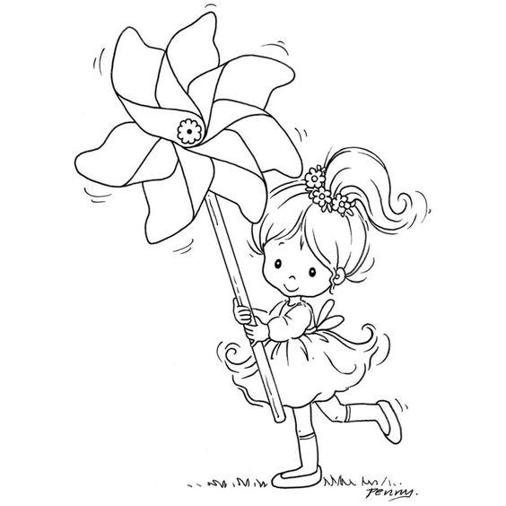 Малыка играется с ветрянной вертушкой Раскраски для взрослых скачать