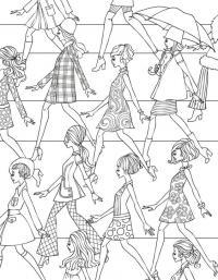 Модные девушки идут по улице Раскраски для взрослых скачать