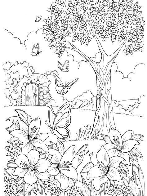 Дерево на поляне Раскраски для взрослых скачать