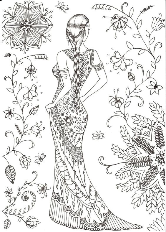 Модница модель среди цветов с длинной косой Раскраски для взрослых скачать