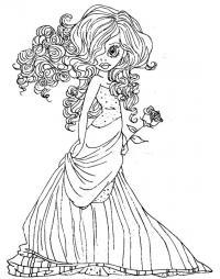 Модница с розой Раскраски для взрослых скачать