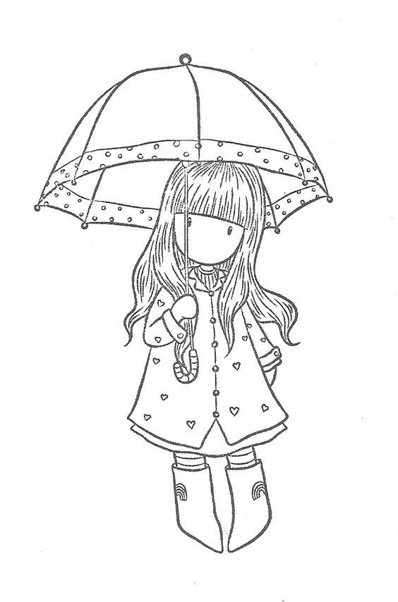 Девочка Девушка под зонтом Картинки антистресс раскраскиАнтистресс онлайн