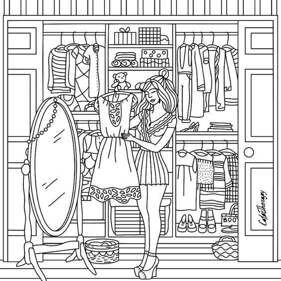 Модница одевается перед зерколом зеркало Лучшие раскраски ...