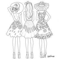 Три платья на выбор Раскраски для взрослых скачать