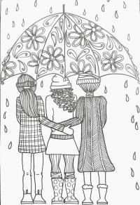Три подруги под зонтом Раскраски для взрослых скачать
