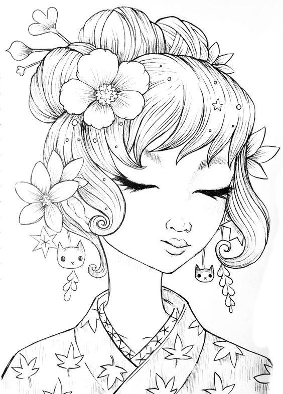 Девушка с красивой прической прическа Онлайн раскраски в ...