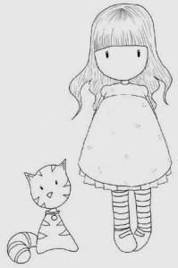 Девочка и кот Раскраски для взрослых скачать