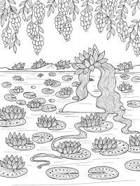 Девушка купается в озере среди кувшинок Раскраски для взрослых скачать
