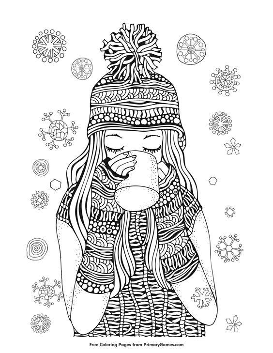 Девочка пьет кофе в зимней шапке среди снежинок Раскраски для взрослых скачать