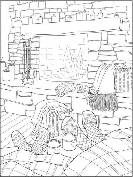 Кот спит у камина Раскраски для взрослых скачать