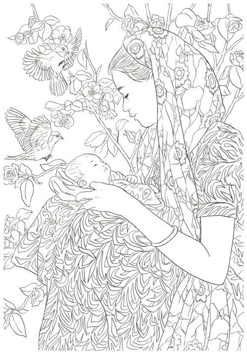 Мама в платке держит новорожденного малыша среди цветов и птиц Раскраски для взрослых антистресс