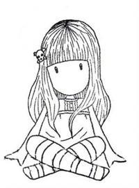Девочка сидит Раскраски для взрослых скачать