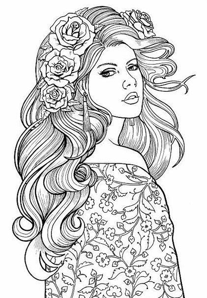Девушка с длинными волосами которые украшены розами. красивое платье с узорами Раскраски для взрослых антистресс