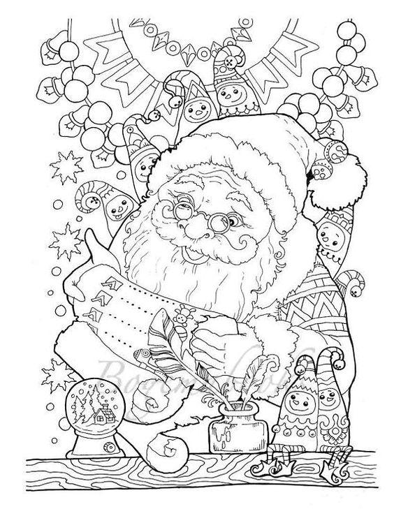 Санта читает список дел на новый год Раскраски для взрослых антистресс