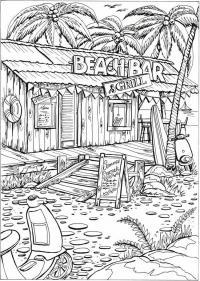 Бляжшый бар гриль среди пальм Раскраски для взрослых антистресс