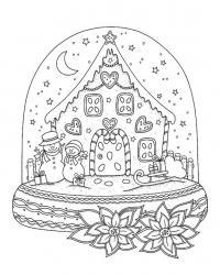 Новогодний шар со звездами Раскраски для взрослых антистресс