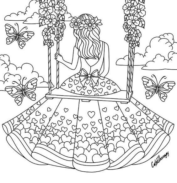 Девочка на качелях в красивом платье среди бабочек Раскраски для взрослых антистресс