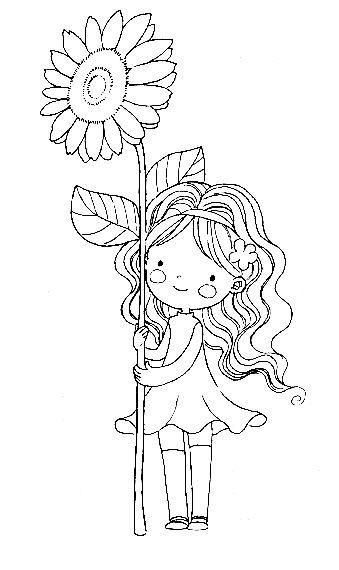 Девочка около подсолнуха Раскраски для взрослых антистресс