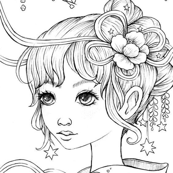 Красивая девушка, портрет Раскраски для взрослых антистресс