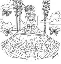 Девочка на качелях в красивом платье среди бабочек Раскраски для взрослых скачать