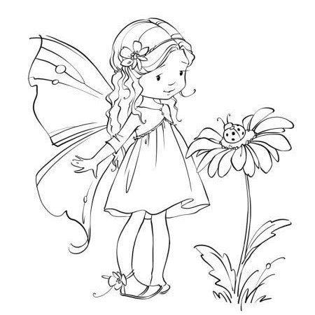 Девочка фея смотрит на цветок с божьей коровкой Раскраски для взрослых антистресс