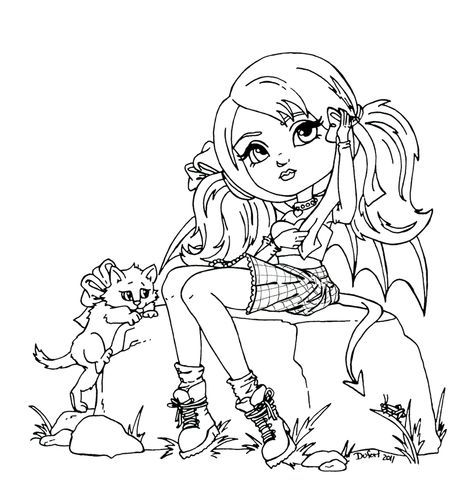 Девочка сидит на пеньке и к ней идет кот Раскраски для взрослых скачать