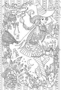 Девушка ведьма на метле. костюм для хэллоуина Раскраски для взрослых скачать