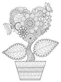 Цветок с узорами в горшке Раскраски для взрослых антистресс