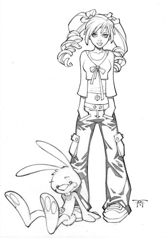 Девушка с зайцем Раскраски для взрослых скачать