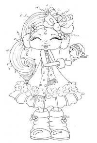 Девочка в зимней одежде Раскраски для взрослых скачать