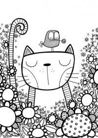 Кот медитирует с птицей на голове Раскраски для взрослых скачать