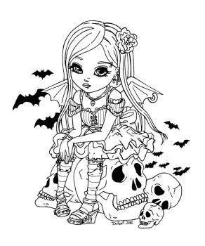 Девочка сидит на черепе в окружении летучих мышей Раскраски антистресс а4