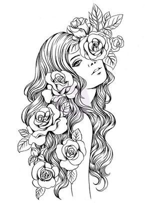 Девушка Девушка с розами в волосах Раскраски для снятия стрессаАнтистресс онлайн
