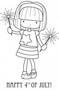 Девченка с бенгальскими огнями Раскраски для взрослых антистресс