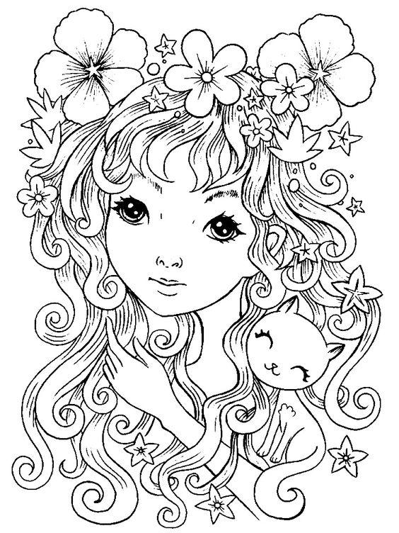 Девушка Девушка с длинными волосами и котенком Раскраски антистресс бесплатноАнтистресс онлайн
