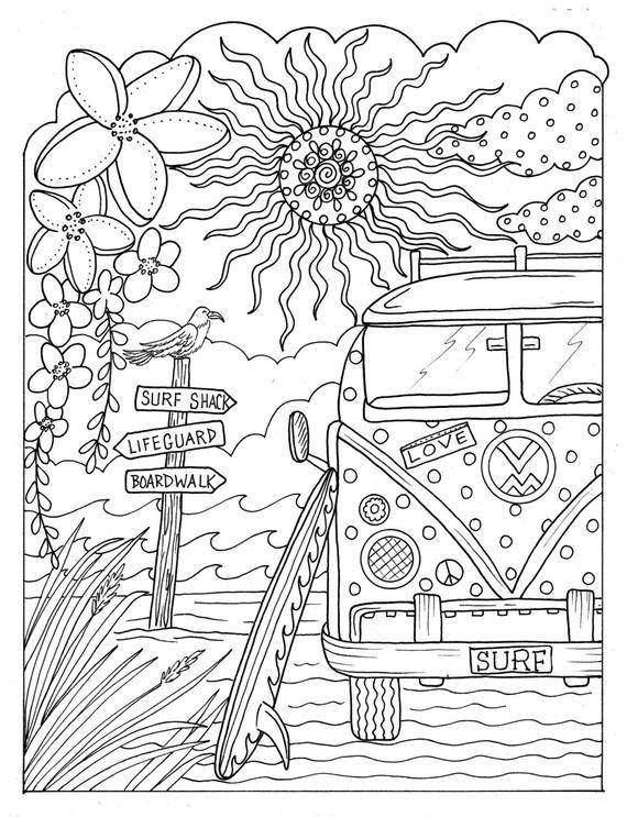 Цветы Микроавтобус фольцваген для хиппи на берегу моря Антистрессовые раскраскиАнтистресс онлайн